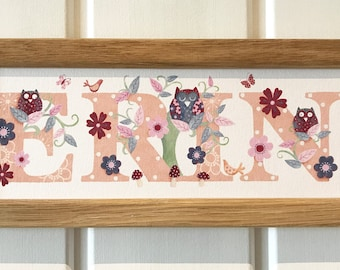 Owl Door Plaque - Children's / Kids / name sign / Illustration