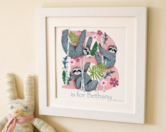 Sloth Letter Art Print