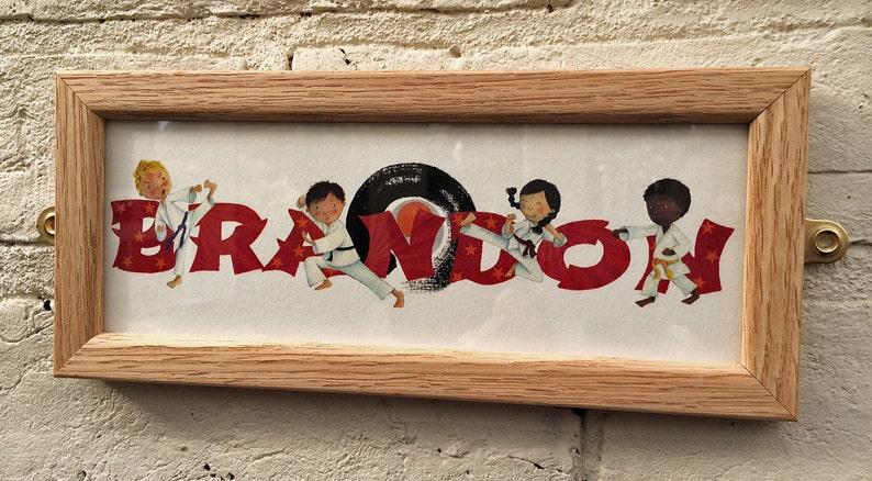 name frame new baby gift Karate Door Plaque Children/'s  Kids  name sign  Illustration