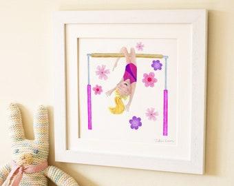 Gymnastics bar gymnast childrens kids baby wall art print illustration picture nursery decor new baby gift frame