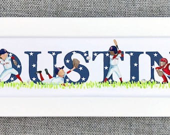 Baseball Bedroom Door Sign - (can be personalised to a favourite team)