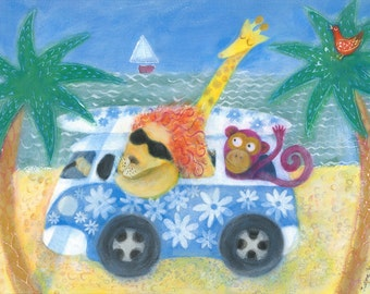 Surf's Up, Campervan - Unframed limited edition children's print