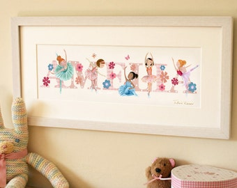 BALLET - Children's / kid's / baby's illustrated name art picture, personalised unframed print