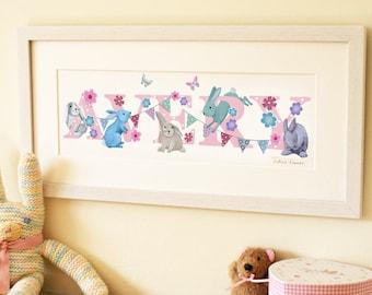 Bunny Illustrated Name Print