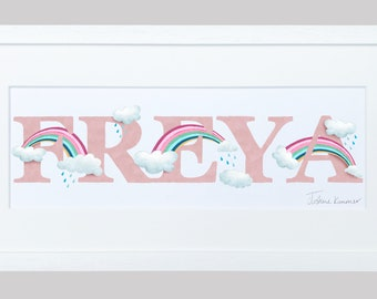 Rainbow and Cloud Illustrated Name Print