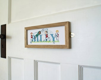 Football Door Plaque - Children's / Kids / name sign / Illustration - (can be personalised to favourite team)