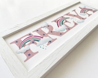 Rainbow and Cloud Bedroom Door Sign
