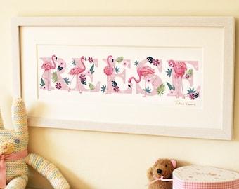 Flamingo Illustrated Name Print