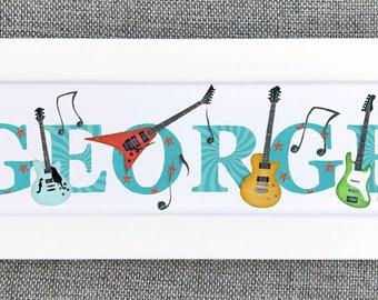 Guitar Bedroom Door Sign