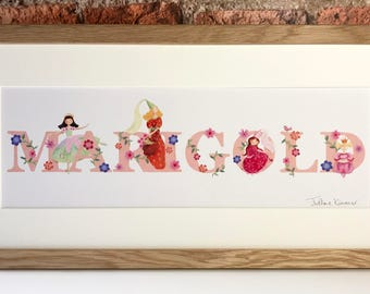 PRINCESS - Children's / kid's / baby's illustrated name art picture, personalised unframed print