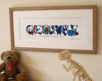 DINOSAUR - Children's / kid's / baby's illustrated name art picture, personalised unframed print