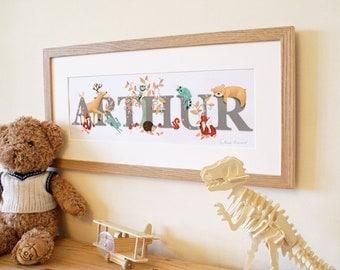 Woodland Animal Illustrated Name Print