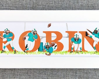 American Football Bedroom Door Sign - (Can be personalised to favourite team / colours)