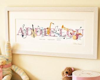 Music Illustrated Name Print