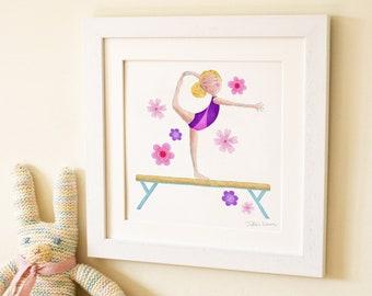 Gymnastics beam gymnast childrens kids baby wall art print illustration picture nursery decor new baby gift frame