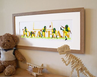 American Football Illustrated Name Print - Personalised to a favourite team / colours