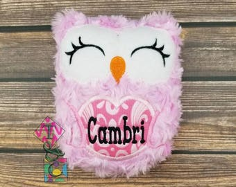Personalized Owl Stuffed Animal - Baby Gift - Personalized Owl -  Owl with Name - Soft Owl - Plush Owl - Pink Owl - Stuffie - Baby Shower