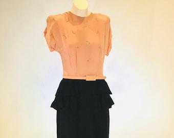 e99d3e5f62704c TRUE Vintage 1940s Pink and Black Peplum WOW Dress! ~ Rhumba Peplum ~  Rhinestone Details on Pink Top ~ Wiggle Dress ~ Rayon Crepe ~ Pinup