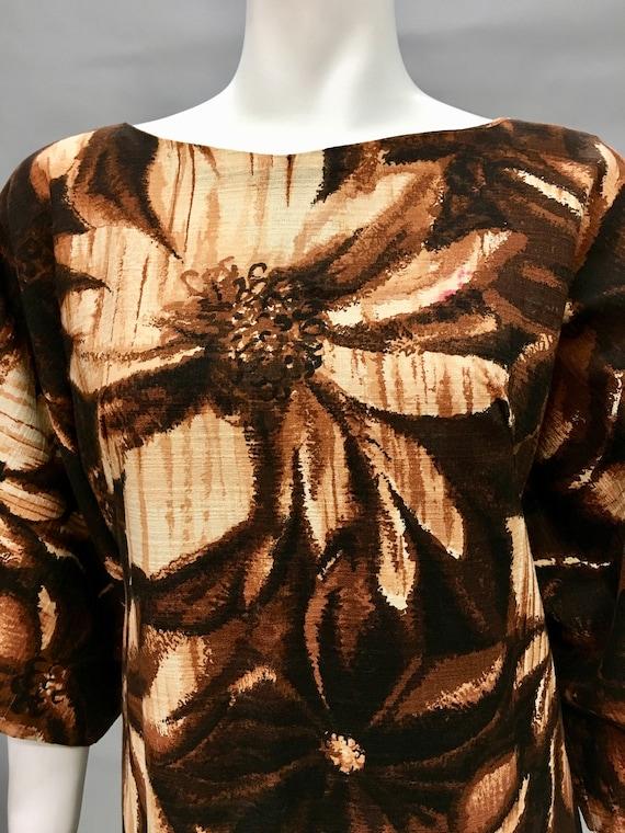 Vintage 60s Brown Batik Dress~Kimono Sleeve~Islan… - image 5
