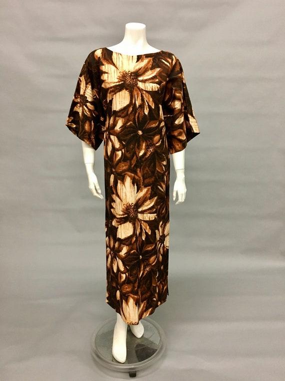 Vintage 60s Brown Batik Dress~Kimono Sleeve~Islan… - image 4