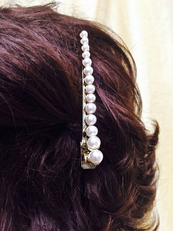 Vintage 1970s Decorative Faux Pearl Golden Hair Clip Up Do Etsy