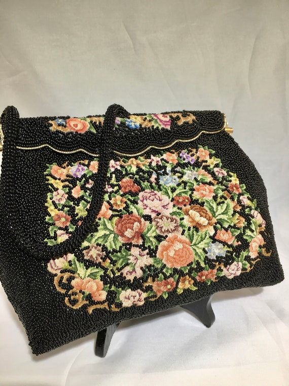 Vintage 1960s Beaded Bag ~Black Bead and Tapestry - image 2