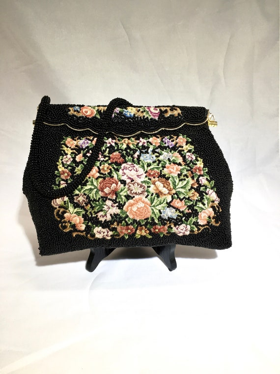 Vintage 1960s Beaded Bag ~Black Bead and Tapestry - image 1