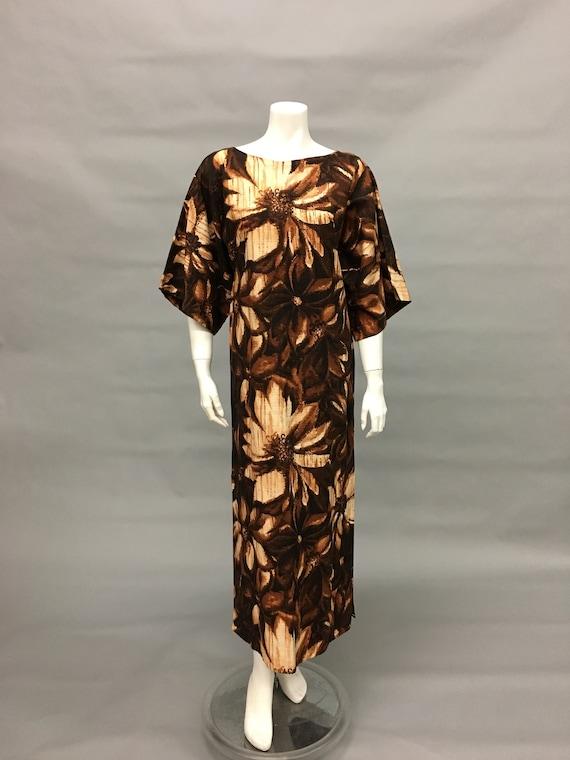 Vintage 60s Brown Batik Dress~Kimono Sleeve~Island