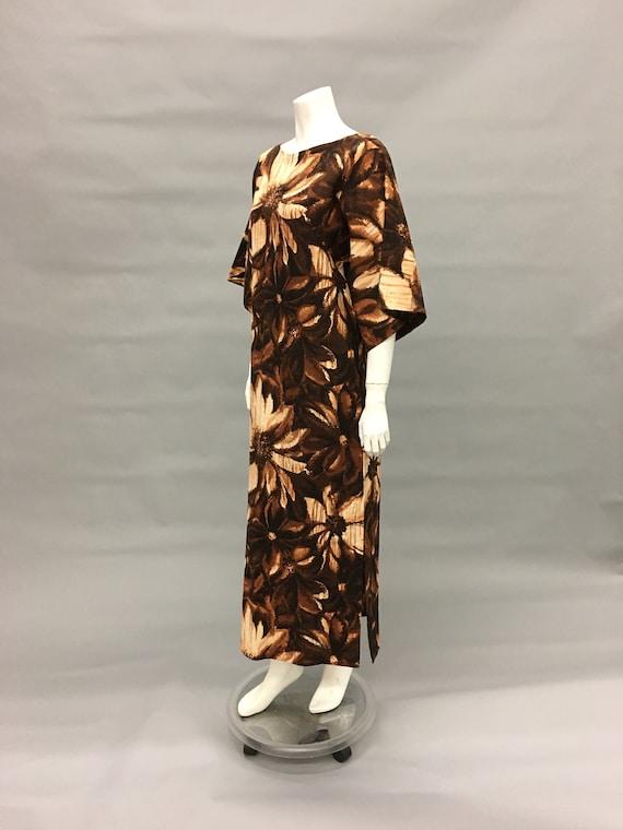 Vintage 60s Brown Batik Dress~Kimono Sleeve~Islan… - image 3