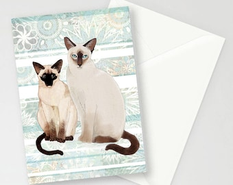 Siamese Cats blue background A6 greetings card