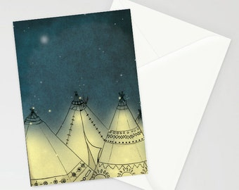 A6 summer tipi camping illustration greetings card