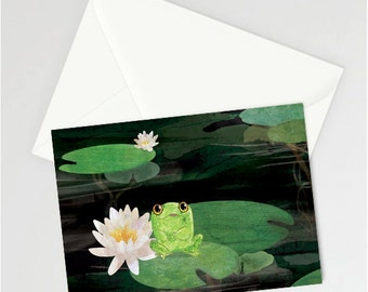Cute frog on a lilypad A6 Greetings card