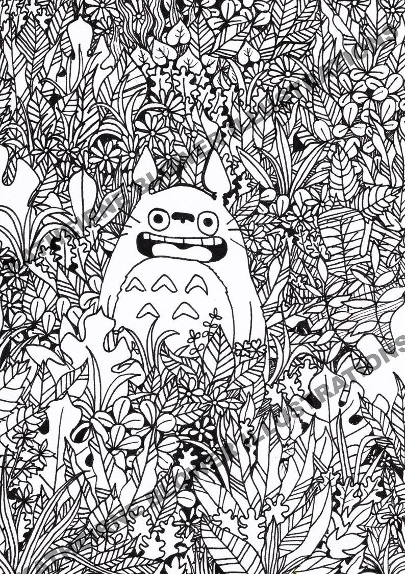Mon Voisin Totoro Page à Colorier Etsy