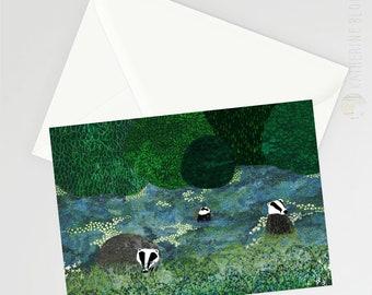 Badger Amongst the Bluebells A6 Card
