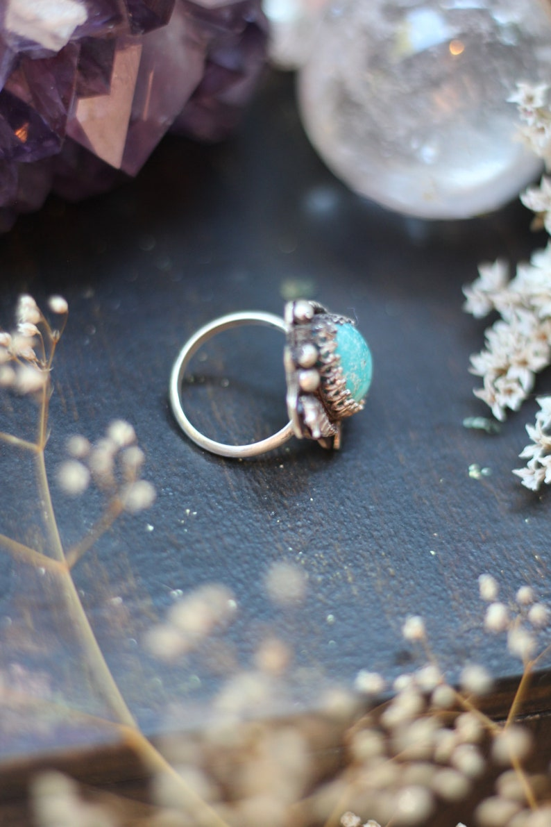 White Water Turquoise Seahorse Sterling Silver Ring Size 7