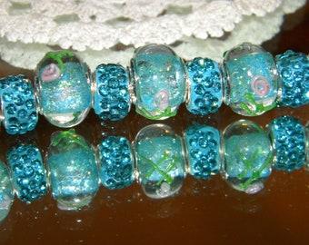 31-CD057 Murano Glass Beads Royal Blue Gold Foil--8mm--1 Pc
