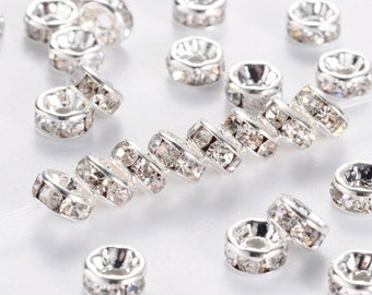 635390dbfba9 NEW 100 Pcs Clear Silver 6mm Crystal Jewelry Design Making Silver toned    Rondelle Crystal Spacer Beads 1mm hole