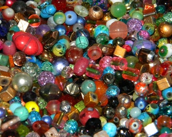 Lot 10 20mm Clear Red Blue Green Stripes Round Tubular Center Drilled Glass Bead