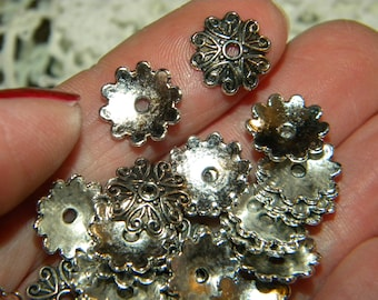 NEW 50Pc METAL Leaf swirl flower 10x4mm spacer beads silver toned Tibetan Silver Beautiful Beads Caps spacers toppers 1.5mm hole BL