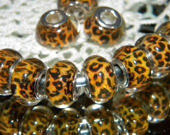 NEW 10pc Brown Tan clear Crackle Glitter 14mm European Style Charm spacer beads lot Beads RESIN 5mm large hole spacer charm Bead lot