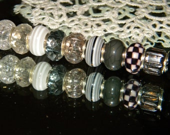 a82c4b2bbb1c NEW 10/pc Gray/ Black/ White European Style Charm (Beads only) lot Glitter  and Mixed, large hole spacer charm Beads lot (CHK)