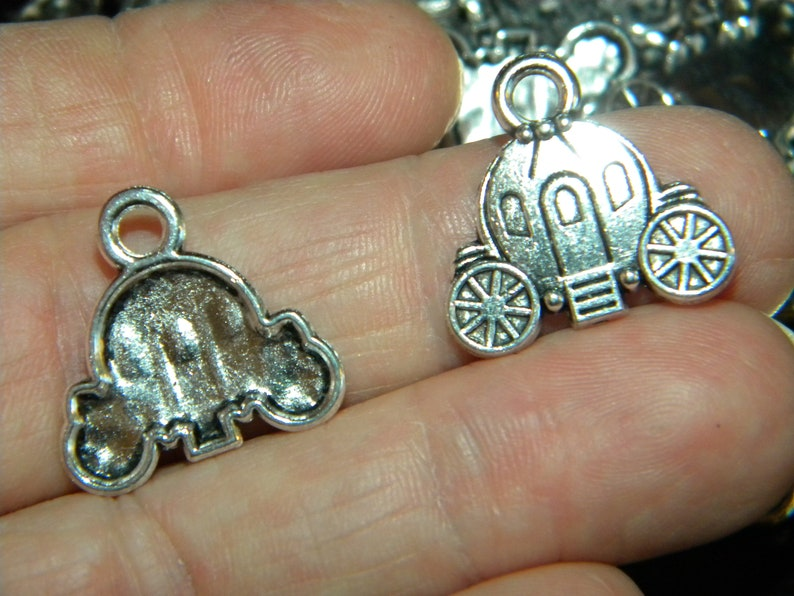NEW 10pcs Tibetan silver super cute Detailed Cinderellas carriage chariot charms lot 19x20mm silver charms jewelry making lot