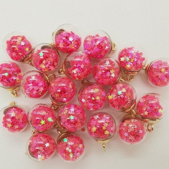 NEW 2 Jesse James Gold TopGreen Mini Glass Bottles Stars Fish Bowl Round ball beads 16mm charm Earring Pendant Ornaments Jewelry Making GG