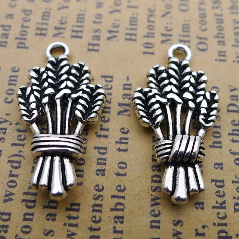 NEW 10pc Antique silver Alloy fall Wheat Harvest bunch fall charms cut out detailed 2 sided Charms Pendants Jewelry Findings 25x13.5mm