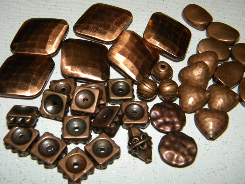 New 4oz MIXED LOT BrassBronzecopper Beads Metal Spacer Mixed LOT 8mm-30mm mixed shapes