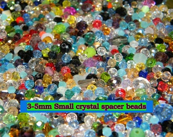 NEW 100/pc Small spacer Crystal 3mm-5mm Loose GLASS BEADS Random Mixed different sizes, shapes, & colors