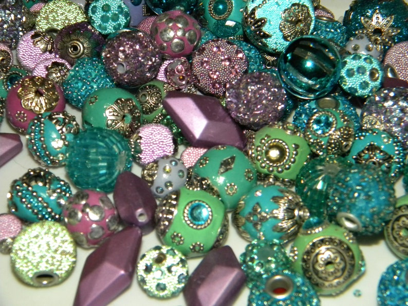 NEW 20pc Mermaid Mix PurpleTealGreen Mixed BOHO Jesse James beads Loose bead Random Mix Bag of different sizes /& shapes