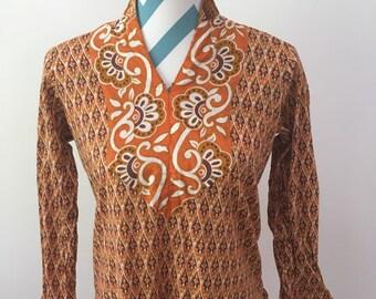 Vintage 1970s Caftan Tunic Indian Ethnic Dress Brown Orange Paisley Small