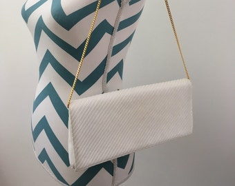 Vintage White Leather Bag with Gold Chain Strap 1980s Purse by Morris Moskowitz Geometric Embroidery
