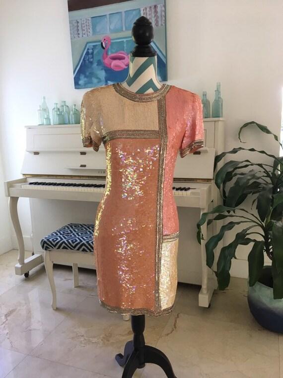 Vintage Beaded Sequin Dress Salmon Pink Cream Silv